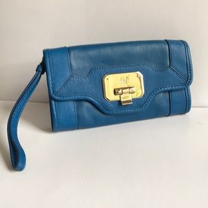 Blue Cole Haan leather clutch/wristlet